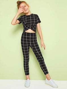 To find out about the Girls Twist Front Grid Top & Leggings Set at SHEIN, part of our latest Girls Two-piece Outfits ready to shop online today! Preteen Girls Fashion, Teenage Girl Outfits, Kids Outfits Girls, Cute Girl Outfits, Girls Fashion Clothes, Cute Outfits For Kids, Cute Summer Outfits, Teen Fashion Outfits, Stylish Outfits