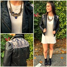 """Rocker chic in the NEW """"tunic tee tan"""" ($22.99), """"woven moto jacket"""" ($59.99), """"necklace"""" ($32.99 at #statements) available in store and online at www.sophieandtrey.com! #sophieandtrey #freeshipping #ootd #love"""