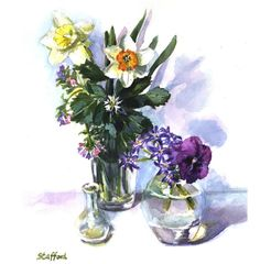 Daffodils and Pansy Still Life Print by nataliestafford on Etsy