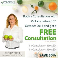 NUTRITION PROMOTION ( SAVE 50%)  Book a Consultation with our Nutrition Coach, Victoria Tipper before 15th October  and get free consultation* for you or your friend.  * Free consultation should be within 30 days.  * Promotion Valid between 1st October to 15th October 2013.  Book an appointment call : 04 335 1200  Your #DHTC Team