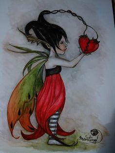 Aquarelle d'une fée follette et son coeur