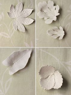 DIY leaf bowls made with real leaves and air dry clay