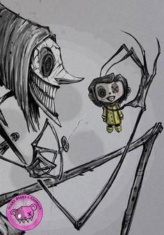 Coraline -- Other Mother -- Beldam -- art print Creepy Drawings, Dark Art Drawings, Art Drawings Sketches Simple, Creepy Art, Arte Horror, Horror Art, Horror Drawing, Coraline Drawing, Coraline Tattoo