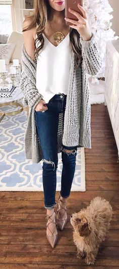 street style obsession knit cardi   ripped jeans