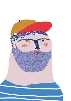 Dude by Ashley Percival. illustration - illustrator - design - character - man - face - drawing - poster - posters - decor - print - cool - dude - fun - hat - beard - beards - fashion - wallart - kids - etsy - prints