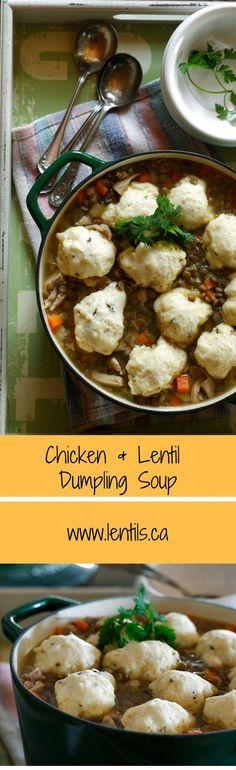Chicken & Lentil Dumpling Soup | http://lentils.ca (Diabetic-Friendly/Heart-Smart)