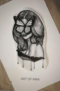 Work by Art of Mimi #illustration #fortattoo #tattoodesig #butterfly #dotwork #linework #artofmimi