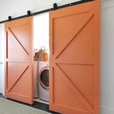 Doors to hide laundry room--maybe at bottom of stairs