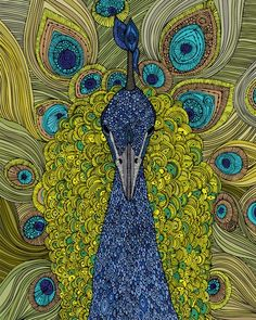 'Mr. Pavo Real' by #artist Valentina Ramos http://www.valentinadesign.com art drawing #fineart