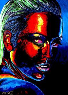 Martin X Art. Pop art. Retratos. Fluorescente. Colorido. Rostros. mujeres hermosas. expresionismo. arte moderno. decoración.cuadros