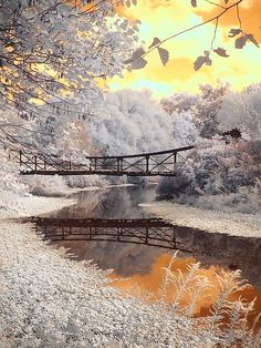 Bridge Reflections in winter - infrared photography Infrared Photography, Nature Photography, Pretty Pictures, Cool Photos, Amazing Photos, Beautiful World, Beautiful Places, Winter Scenery, Winter Magic
