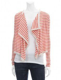 Nautical stripe fly away cardigan knit.  Demylee