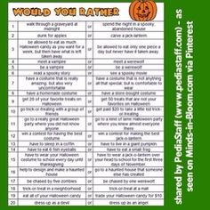 "FREE Halloween ""Would You Rather"" questions. Great for promoting conversation. On Minds in Bloom blog -"