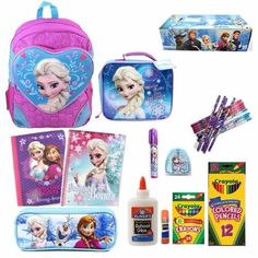 Disney Frozen Backpack with Matching Lunch Bag and School Supply Set Girls NEW #Disney