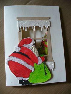window die christmas card | Santa Window Card