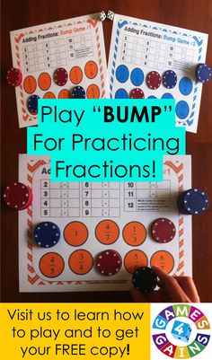 Learn how to play our Adding Fractions Bump Games and get your FREE copy of this set at games4gains.com. You'll receive 2 different bump games to help students practice adding fractions with like and unlike denominators.