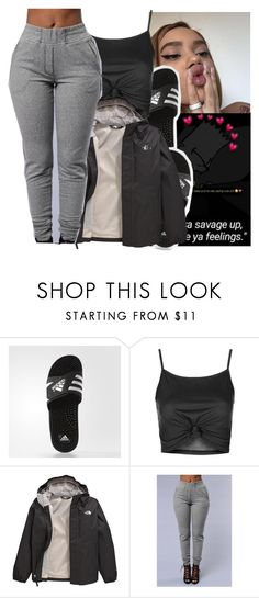 """""""Untitled #254"""" by jezellee ❤ liked on Polyvore featuring adidas, Topshop and The North Face"""