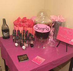 Sangria punch and glass set up. Hotel Sleepover Party, Adult Slumber Party, Hotel Party, Spa Birthday Parties, Cute Birthday Gift, Gold Birthday Party, 19th Birthday, Birthday Weekend, Mom Birthday
