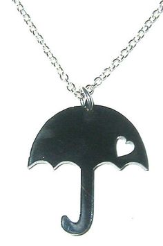 Rainy London Fashion Week Gift for Her:  Umbrella Black Laser Cut Acrylic Necklace by Rock Jewels @ Etsy