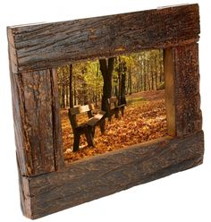 Wooden Picture Frame - formed from beams and railways sleepers, so each one is unique with a rustic finish. Pallet Picture Frames, Pallet Frames, Barn Wood Frames, Picture On Wood, Barn Wood Projects, Old Wood, Rustic Wood, Rustic Crafts, Diy Frame