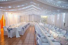 Elegant Hall Decoration For White Wedding Reception With Splendid Ceiling Lights : 12 Great Ideas for Incredibly Romantic Wedding With All White Party Decorations