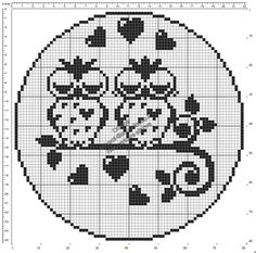 filet crochet Free crochet filet pattern round doily with owls in love 80 squares diameter Cross Stitch Owl, Cross Stitch Animals, Cross Stitching, Cross Stitch Embroidery, Crochet Patterns Filet, Cross Stitch Patterns, Crochet Birds, Free Crochet, Fillet Crochet