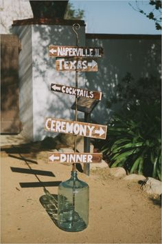 wedding signs in old glass jug for Country rustic venue Wedding!
