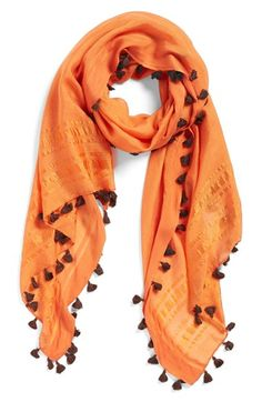 Women's La Fiorentina Tassel Scarf - Orange