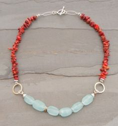 Fire Coral and Aqua Quartz Necklace by Elizabeth Plumb Jewelry