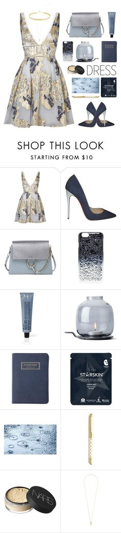 """""""Perfect Party Dress"""" by dianakhuzatyan ❤ liked on Polyvore featuring Notte by Marchesa, Christian Louboutin, Chloé, Marc by Marc Jacobs, La Compagnie de Provence, Menu, Flight 001, Starskin, Kate Spade and NARS Cosmetics"""