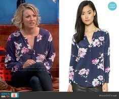 Penny's blue floral v-neck blouse on The Big Bang Theory.  Outfit Details: http://wornontv.net/52977/ #TheBigBangTheory