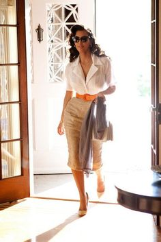 tan pencil skirt | tan pencil skirt orange belt