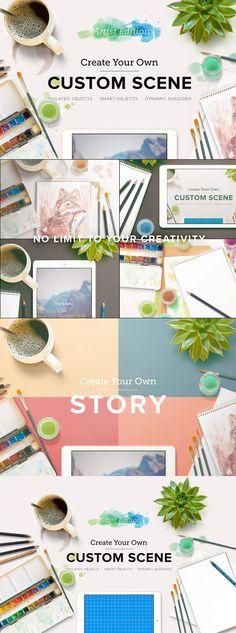 Custom scene watercolor, sketchbook, pads