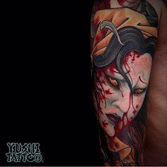 Horror Tattoo by Yushi. #Inked #Inkedmag #tattoo #art #Horror #placement
