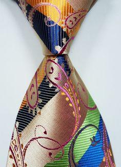 Classic Paisley Orange Blue Green.New Jacquard Woven Silk Men's Tie Necktie #DesignerBrand #NeckTieSet