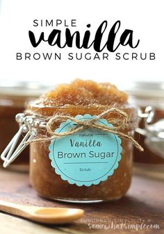 This Vanilla Brown Sugar Scrub recipe smells good enough to eat plus it's super easy to make! A simply perfect homemade DIY! This Vanilla Brown Sugar Scrub recipe smells good enough to eat plus it's super easy to make! A simply perfect homemade DIY! Sugar Scrub Homemade, Sugar Scrub Recipe, Body Scrub Recipe, Homemade Body Scrubs, Homemade Soaps, Homemade Facials, Vanilla Lotion Recipe, Diy Soaps And Scrubs, Homemade Spa Treatments