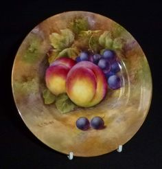 Stunning Fruit Painted Side Plate by Richard Budd (Royal Worcester Artist)