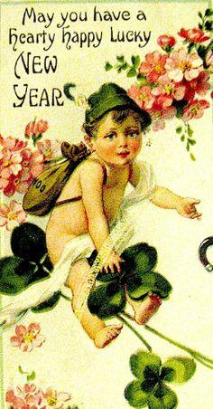 Sweet Alpine Boy New Year Postcard