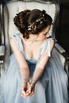 romantic blue grey wedding dress