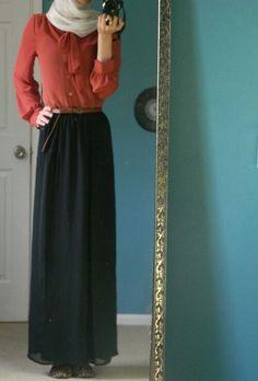 Chiffon long sleeve shirt with black maxi skirt I want to be tall haha Islamic Fashion, Muslim Fashion, Modest Fashion, Hijab Fashion, Skirt Fashion, Women's Fashion, Maxi Skirt Outfits, Modest Outfits, Maxi Skirts