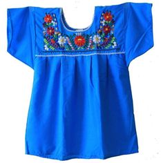 Liliana Cruz Embroidered Mexican Peasant Blouse (385 MXN) ❤ liked on Polyvore featuring tops, blouses, blue peasant top, blue blouse, embroidered top, blue top and embroidery tops