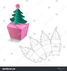 Einzelhandelsbox mit Blueprint-Vorlage Stock-Vektorgrafik (Lizenzfrei) 1164594100 Immagine vettoriale a tema scatola al dettaglio con modello di modello (royalty free) 1164594100 Paper Gift Box, Paper Gifts, Diy Paper, Paper Crafting, Gift Boxes, Paper Art, Diy And Crafts, Christmas Crafts, Crafts For Kids