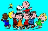 Franklin, Schroder, Lucy Van Pelt, Linus, Peppermint Patty, Sally, Woodstock, Snoopy and Charlie Brown
