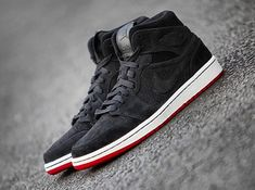 Air Jordan 1 Mid   Black Suede   Red