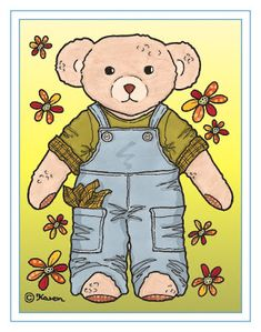 Karens Kravlenisser. Cut-outs and Colouring Pages. : Doll and Bear Postcards in Colours. Dukke og bamse postkort i farver.