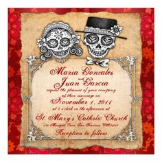 Day of the dead wedding invitations unique wedding invitations shop day of the dead wedding invitations 2 created by thaneeyamcardle stopboris Images
