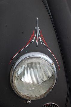 Vintage VW. Steady brushwork on flat black.