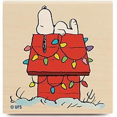 Your favorite Peanuts character Snoopy has  a 'Decorated Dog House'  awaiting a visit from  St. Nick.