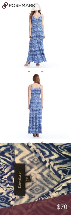 Karen Kane rosewater tiered maxi dress size XXS Cool and carefree, just like you, this boho-chic maxi dress features stunning tiered detailing for head-to-toe drama. Finished with a touch of fringe at the neckline and adjustable spaghetti straps.   100% rayon Hand wash Made in the USA. This is new without the tag. It was modeled by a fashion blogger for a photo shoot. Size XXS karen kane Dresses Maxi