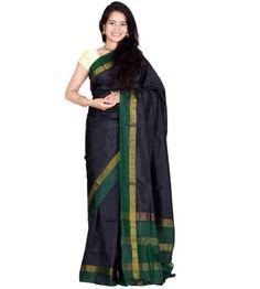 Black Color Saree | Uppada Silk Handloom Plain Saree